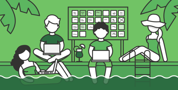 Illustration of a team around a pool with laptops, sticky notes, and a white board.