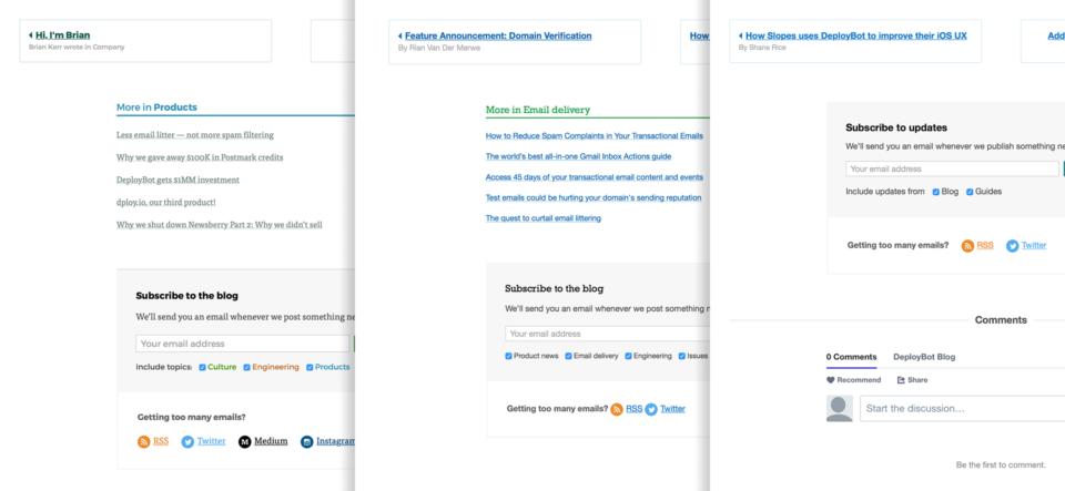 Shared elements between Wildbit, Postmark, and DeployBot blogs