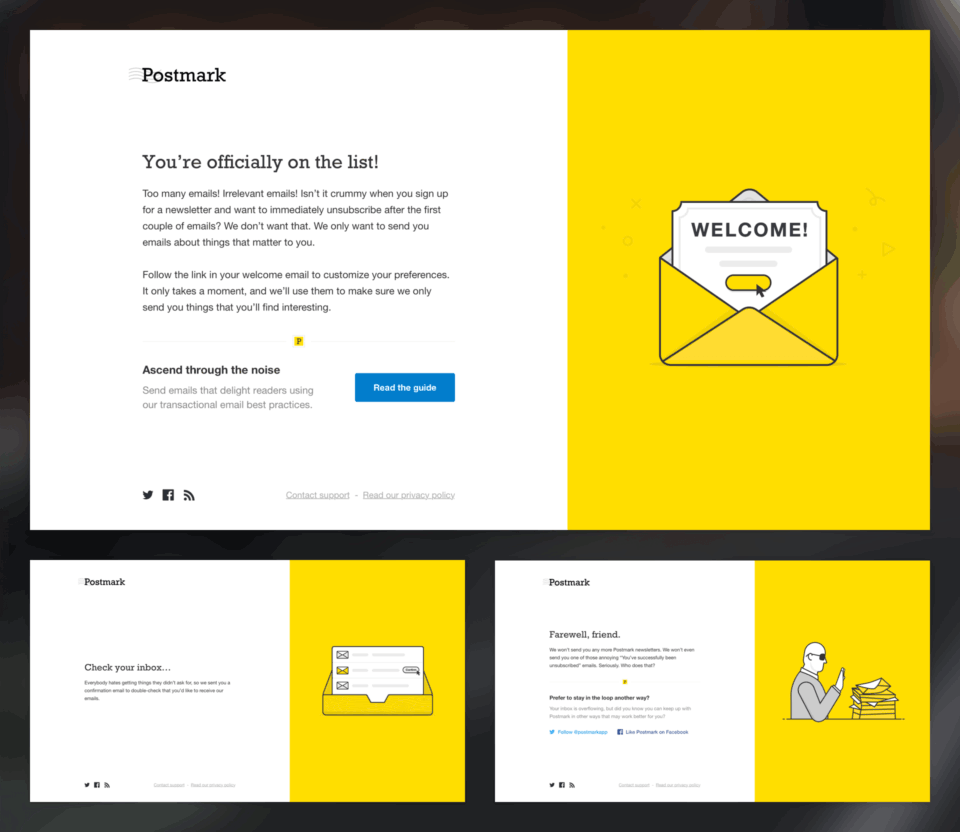 Screenshots of landing pages.