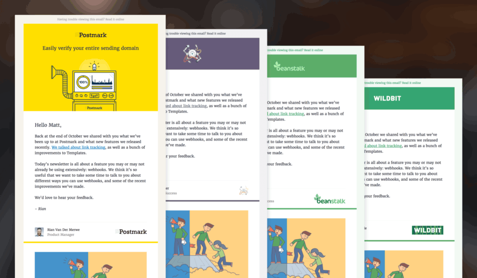 Email template previews for each of the Wildbit products.