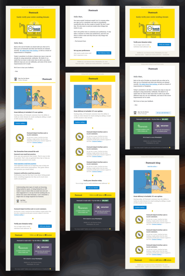 A selection of email layout variations.