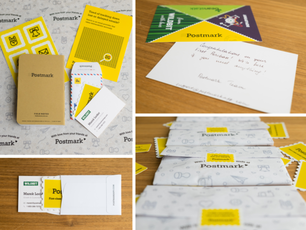 Photos of the Field Notes, stickers, hand-written notes, etc. that we mailed to folks.