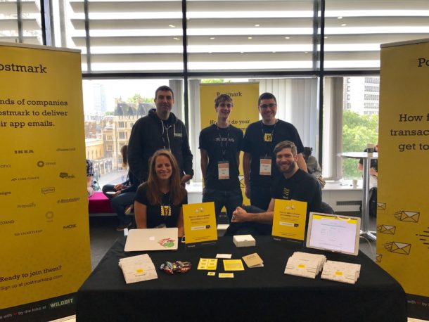 A photo of the team at the Postmark booth at Lead Developer Conference in London.