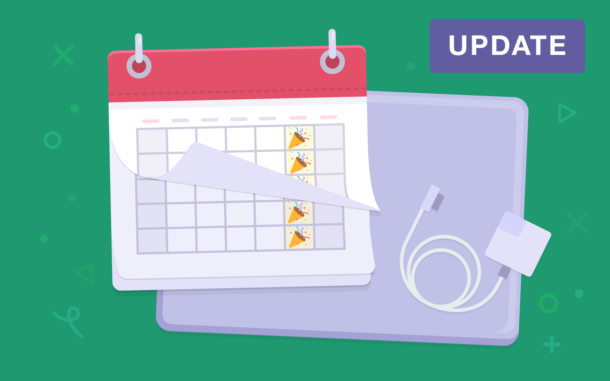 Illustration of a calendar with party emojis on Fridays.