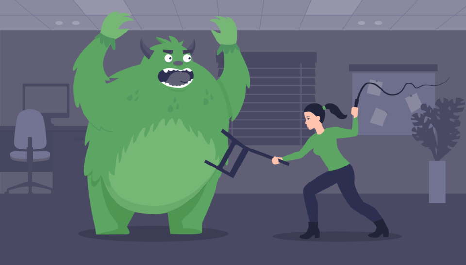 Illustration of a woman with a chair and a whip trying to fight back the business beast.