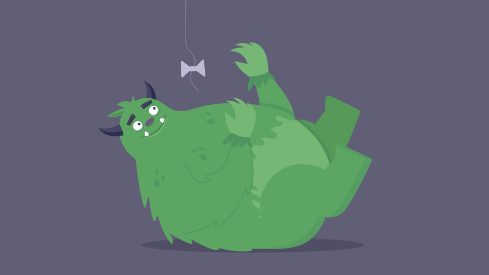 An illustration of the business beast smiling and laying on its back playing with a dangling bow like a cat.