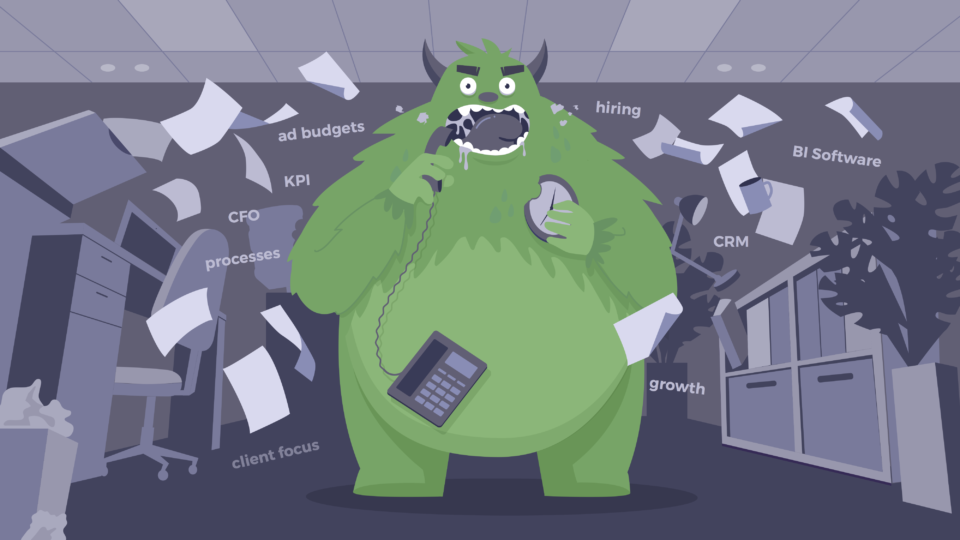 An illustration of a business beast in an office chewing on a phone and a clock with paper flying everywhere.