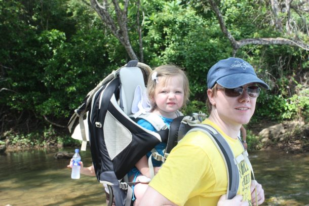 Chris hiking with Sophia in Costa Rica