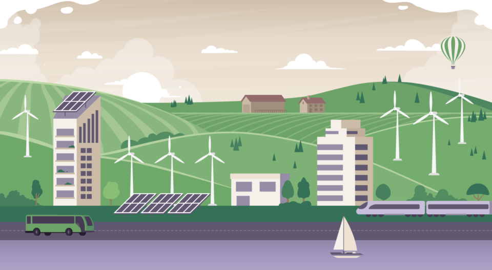 An illustrated scene showing wind farms on green hills, solar panels, and buses.