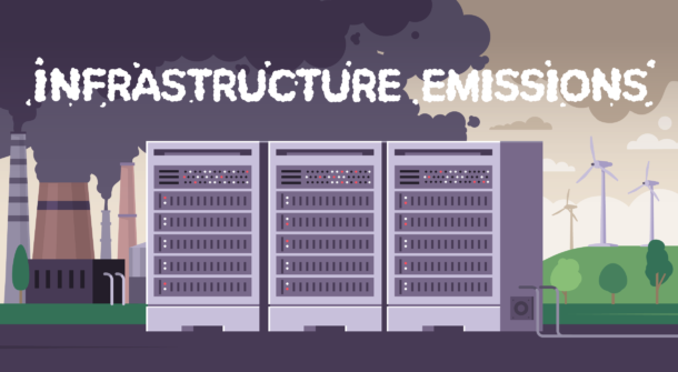 Illustration showing three server racks in front of a coal power plant and wind farms.