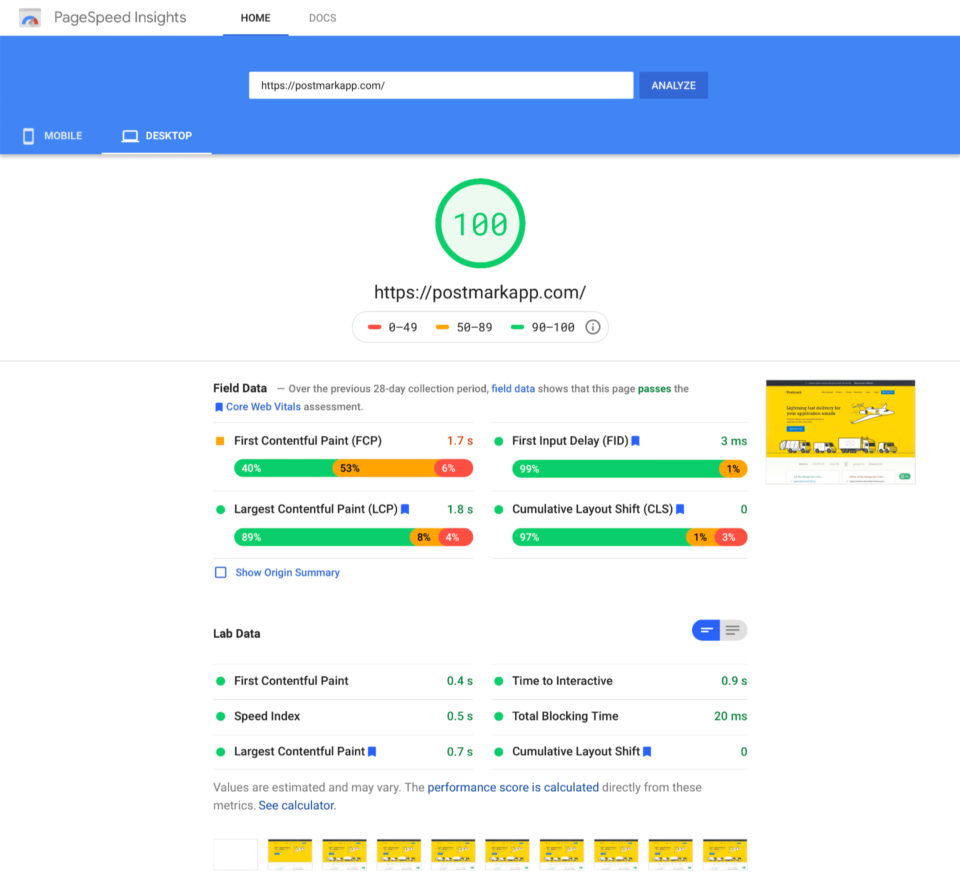 100 score in Google's PageSpeed Insights