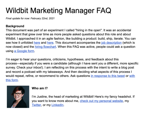 A screenshot of the top half of the first page of the Marketing Manager FAQ. The screenshot shows the introduction and background for why the FAQ exists.