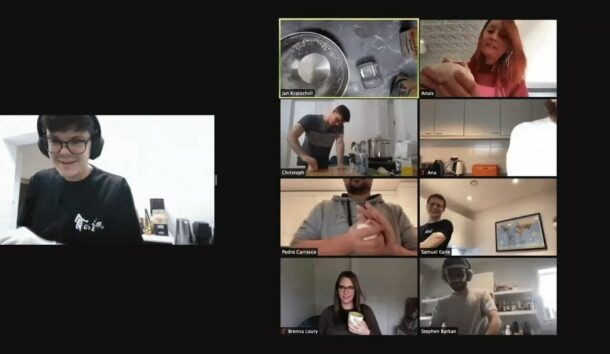 Members of the Doist team learn to make Udon on a video call