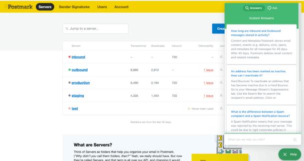 Our help tool on Postmark's website