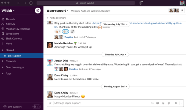 Our support team channel in Slack