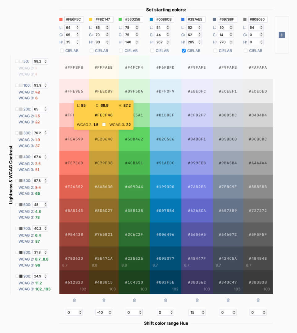 The interface of the Accessible Palette app