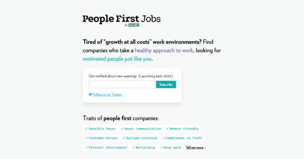 A screenshot of the first design of People-First Jobs.