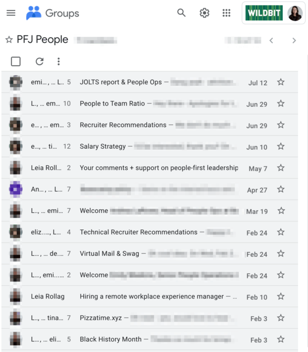 A screenshot of email conversations between folks at different companies included on People-First Jobs.