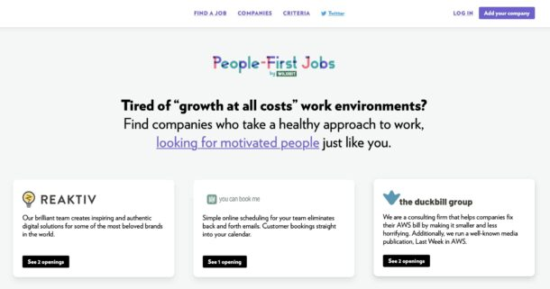 A screenshot of the updated design of People-First Jobs.